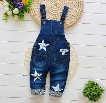 Bibicola Baby Boys Bib Pants Kids Boys Girls Fashion Denim Trousers Cartoon Style Pants For Children