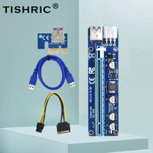 TISHRIC 10 adet yeni PCI 008C yükseltici kart 60CM USB3.0 grafik uzatma kablosu PCIE PCI-E 1X To 16X genişletici GPU madenci madencilik