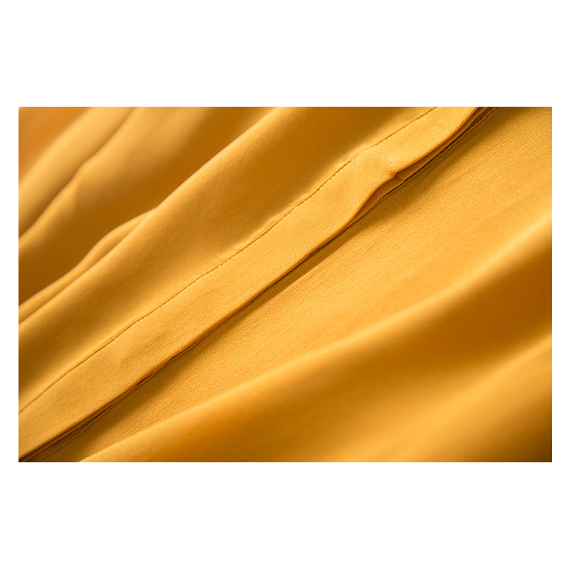 Yellow Round Neck Long-Sleeved Shirt Women Women's Blouses Women's Clothings