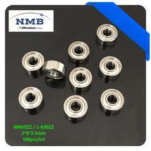 100pcs/lot high quality  high speed NMB Minebea MR63ZZ L-630ZZ 3*6*2.5mm deep groove ball bearing ABEC-5 3x6x2.5mm