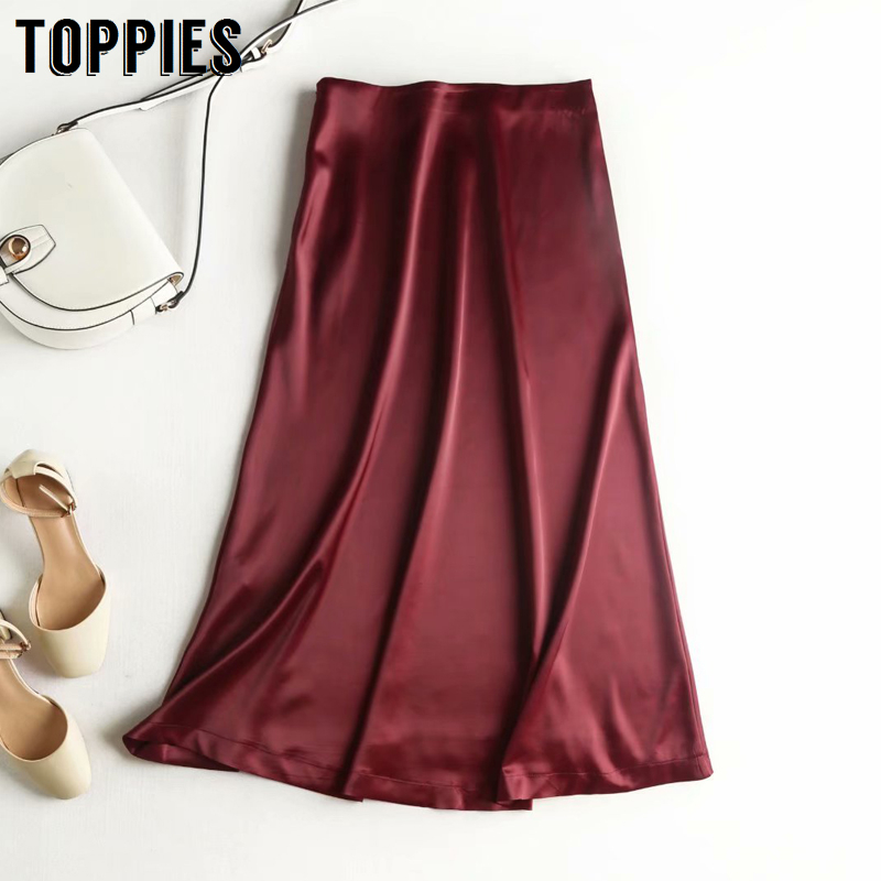 Burgundy Silk Skirts Womens High Waist Midi Skirts 2020 Summer Ladies Elegant A-line Faldas Streetwear
