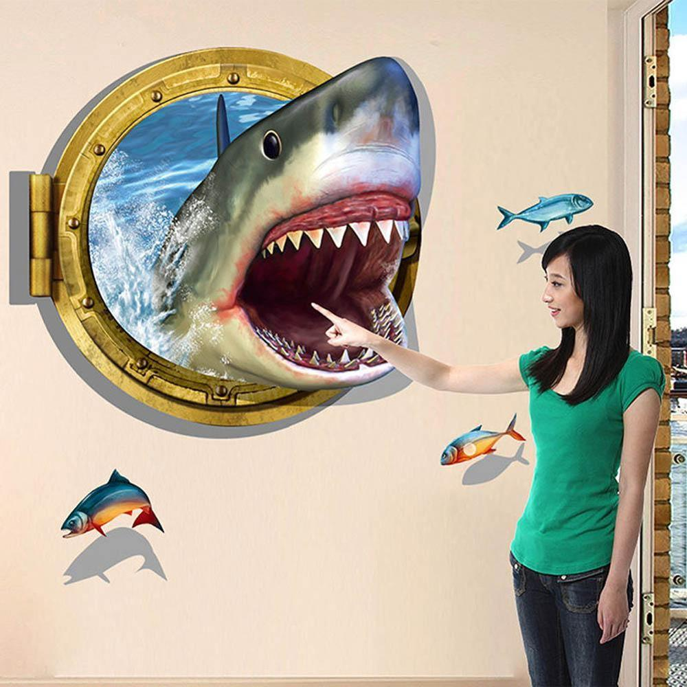 Fashion Funny Shark Wall Sticker For Home Decor 3D Ocean Sea Decal Wallpaper
