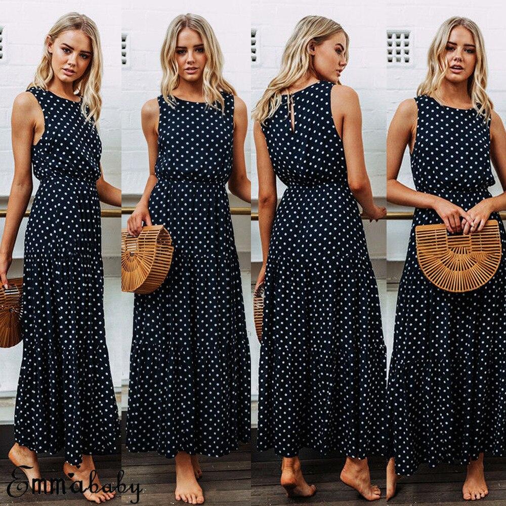 Dark Blue Boho Loose Sleeveless Holiday Dot Print Long Maxi Dress