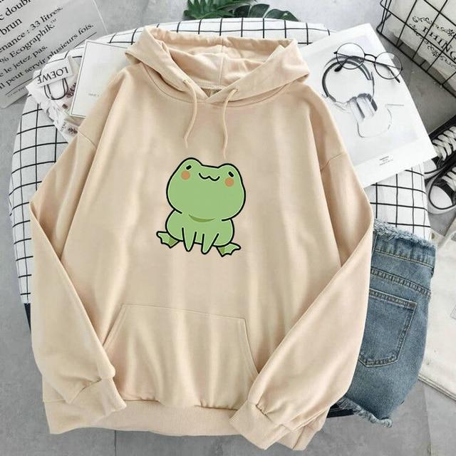 Women Hoodies Harajuku Long Sleeve sweatshirt women Cute Animal Frog Printed Hoodie Pocket Casual Pullover Loosen Tops gdragon 4