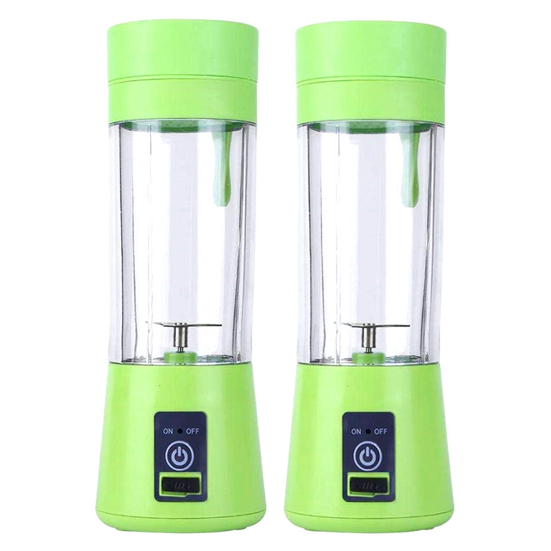 2 Pack Portable Blender for Shakes and Smoothies Green Personal Handheld Mini Cup Juicer with USB Rechargeable Battery Travel Ju image