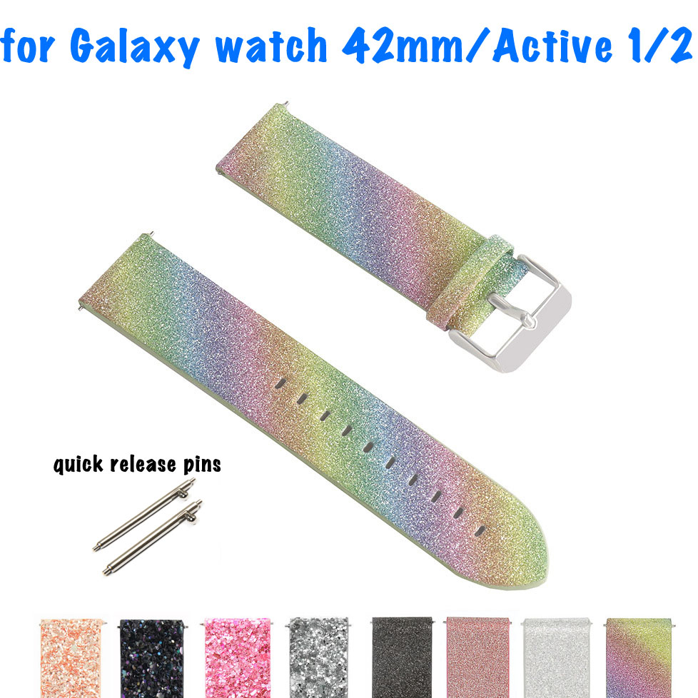 Flash Watch Strap For Samsung Galaxy Watch 42mm Leather Band Bling Active 2 Watchband Glitter Gear Sport Replacement Wrist Strap