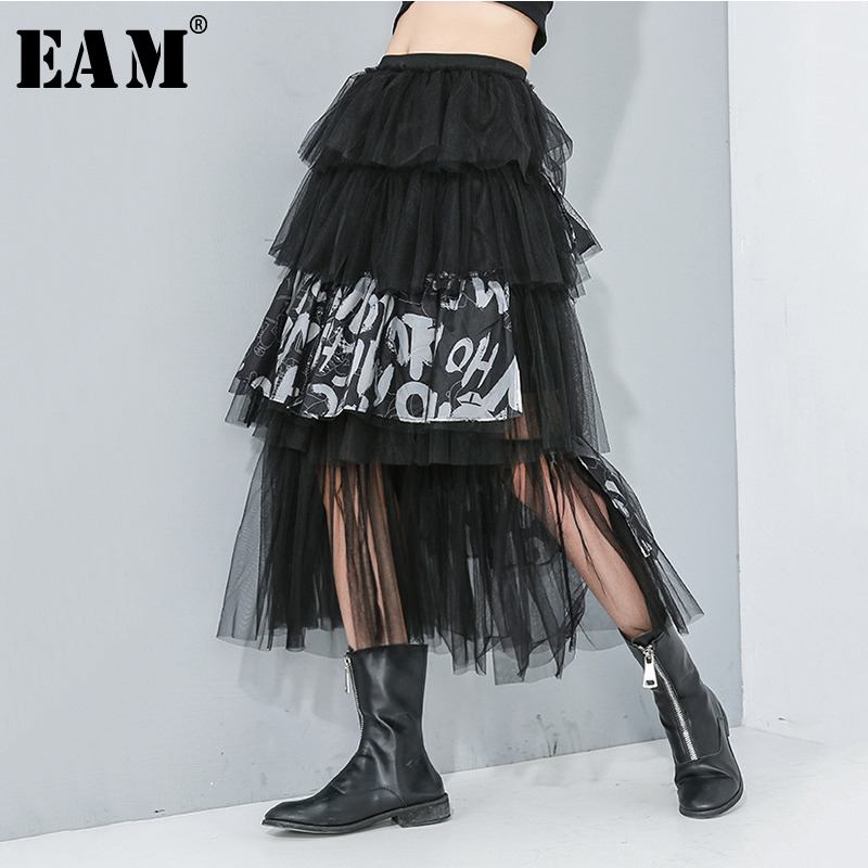 [EAM] High Elastic Waist Letter Print Mesh Split Joint Cake Half-body Skirt Women Fashion Tide New Spring Autumn 2020 1R173