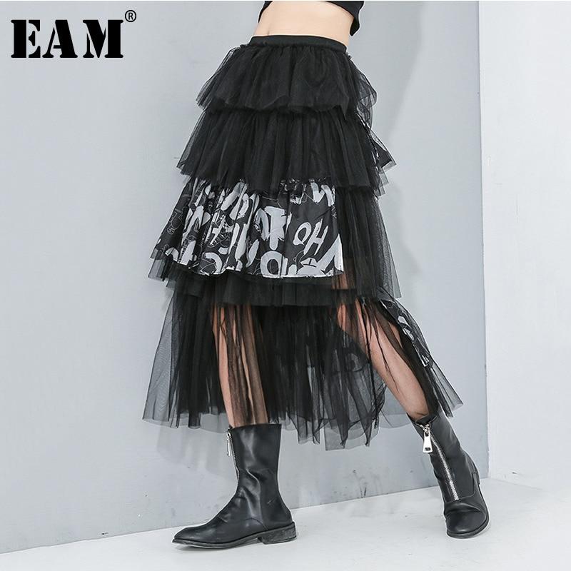 [EAM] High Elastic Waist Letter Print Mesh Split Joint Cake Half-body Skirt Women Fashion Tide New Spring Autumn 2020 1R173