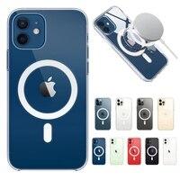 Magnetische Stoßfest Klar Zurück Abdeckung Für iPhone 12 Mini 11 Pro Max XS MAX XR X Macsafe Magsafing Fall Transparent stoßstange Shell
