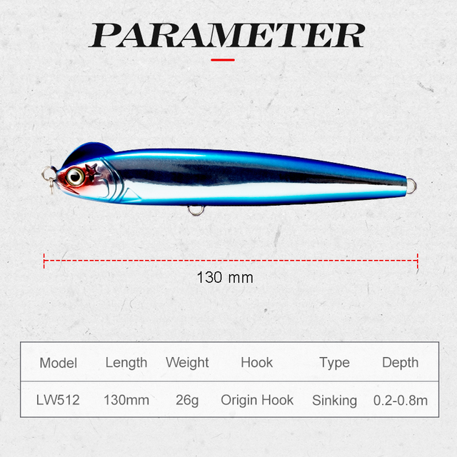 hunthouse slow sinking pencil fishing lure blue stickbait depth 0.2-0.8m S-shaped 130mm 26g seawater seabass hard bait lures