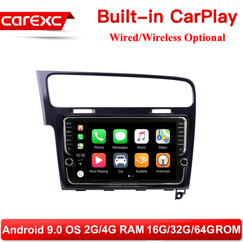 CarExc Autoradio Android 9.0 Car Muiltmedia Player For <font><b>VW</b></font> Volkswagen <font><b>Golf</b></font> <font><b>7</b></font> 2013 2014 2015 Head Unit Built-in CarPlay With GPS Navigation No DVD image
