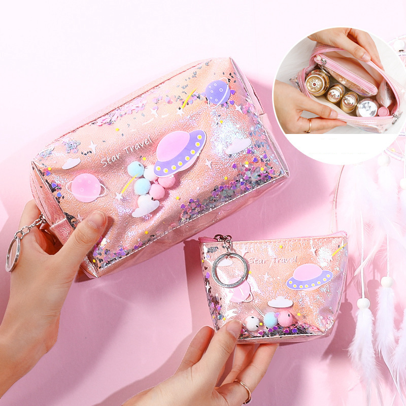 Fashion Laser Sequin Quicksand Makeup Bag Portable Organizer Cosmetic Travel Storage Beauty Wash Women Waterproof Zipper Pouch
