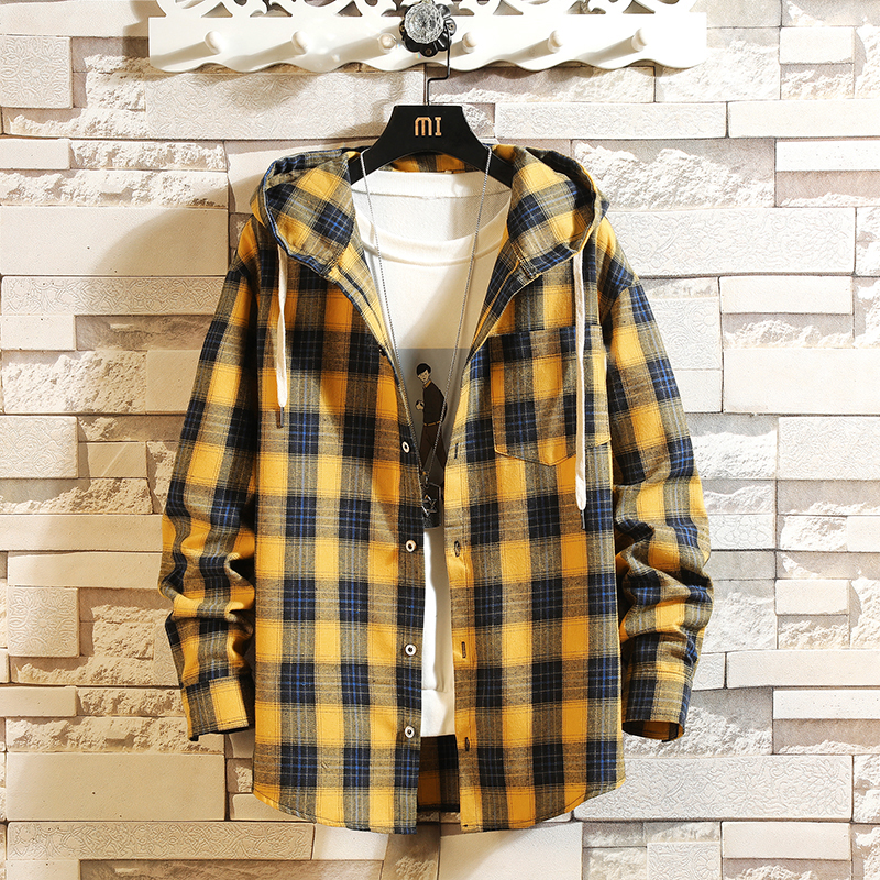 HIP HOP Streetwear Casual Plaid Shirt Men Long Sleeve High Quality 2019 Loose With Hooded