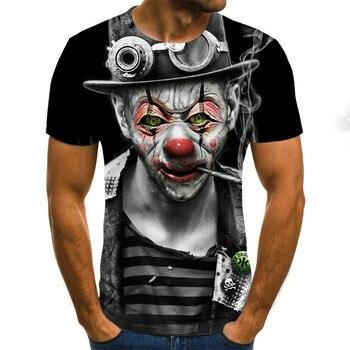 Funny Printed Men T-shirt Clown Print Casual T-shirt Summer Male T-shirt Hip Hop Tops Tee Mens Short Sleeve Fashion Clothing funny new holland t shirt mens slim tee shirt printed t shirtcotton t shirt 010854