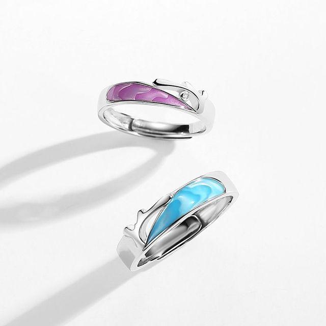 Купить leouerry enamel craft coral sea shape couple rings for women картинки цена