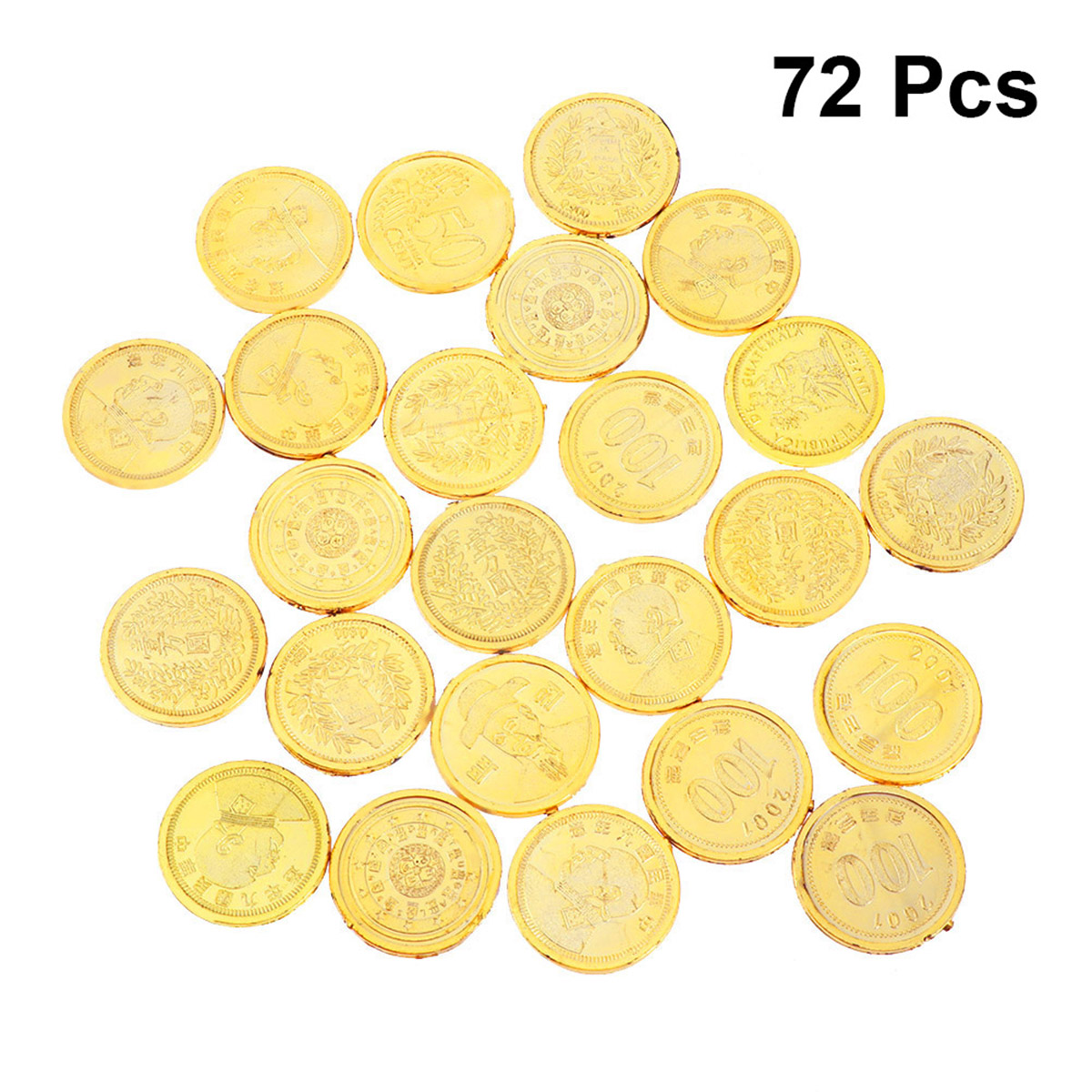 24/48/72pcs Plastic Gold Coins Imitate Pirates Chips Currency Toy Playset Game Props For Children Kids