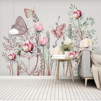Custom Photo Wallpaper Modern Pink Flower Butterfly Murals Living Room TV Sofa Bedroom Romantic Background Wall Decor 3D Sticker цена 2017