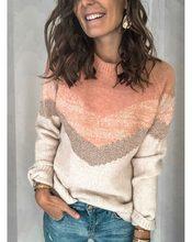 Inverno rosa de malha camisola feminina o pescoço listrado cor bloco camisola pulôveres manga longa senhoras malhas causal pull femme