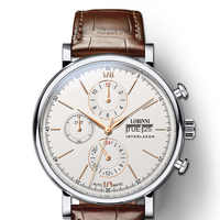 Luxury Brand Switzerland LOBINNI Men Watches Perpetual Calender Auto Mechanical Men's Clock Sapphire Leather relogio masculino