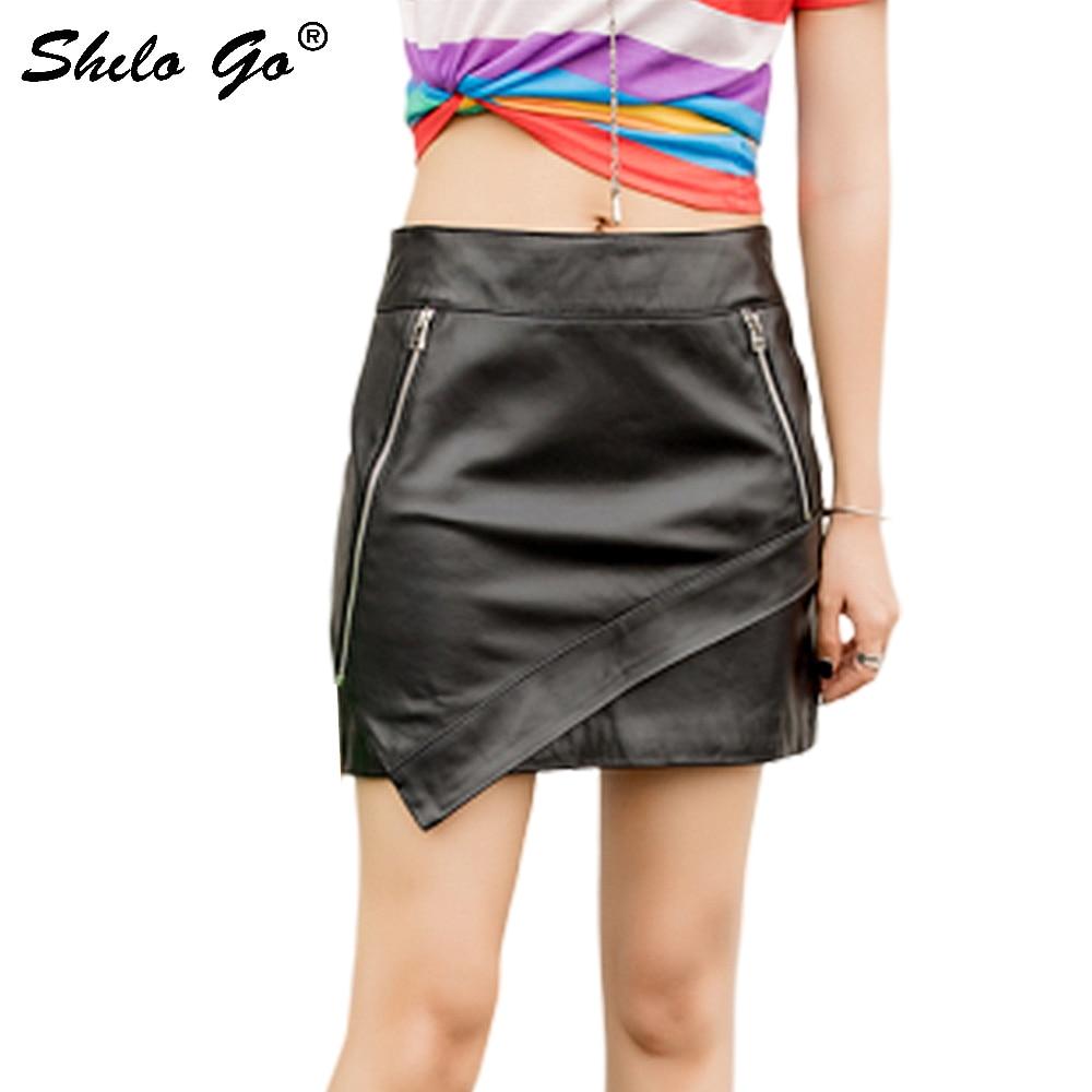 Genuine Leather Skirts Highstreet High Waist Zip Detail Sheepskin Asymmetry Skirt Women Casual Office Lady Pencil Skirts Female