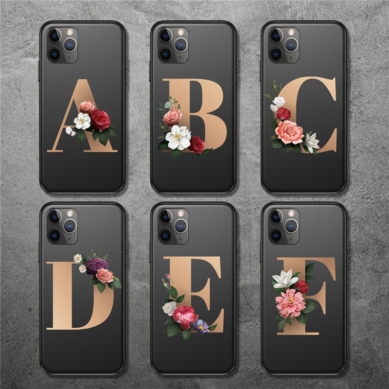 Moskado Vintage Gold Floral Letter Phone Case For IPhone 11 Pro Max X XR XS 6 6s 7 8 Plus 5 5s SE Soft TPU Silicone Back Cover