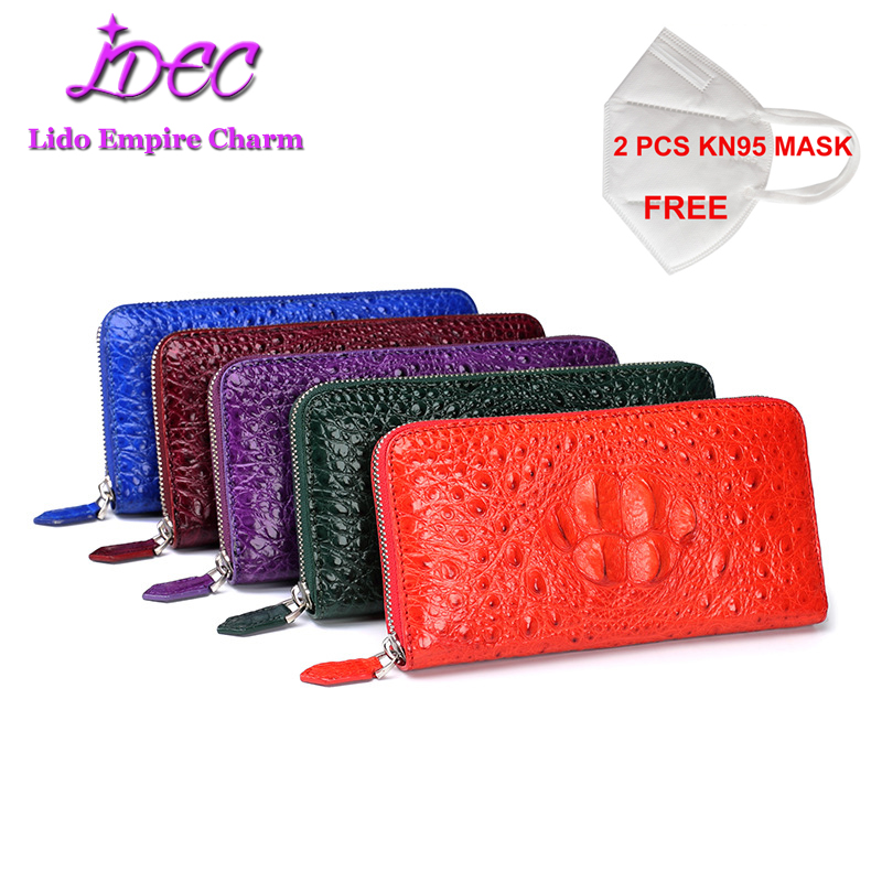 Luxury Elegant women's high-end wallet Long style real crocodile leather wallet multi-color optional