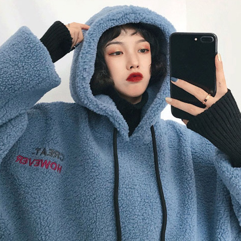 Hot Sale Loose Fashion Thickened Plush Hoodies Large Size Hooded Long Sleeve Warm Hoodies New