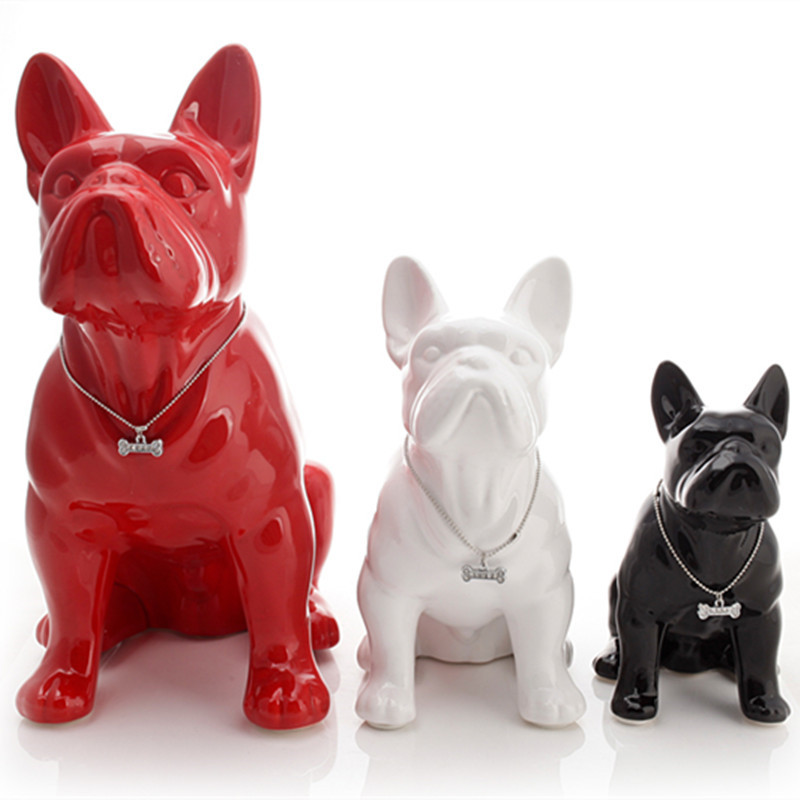 Ceramic French Bulldog Dog Statue Home Decoration Accessories Crafts Objects Ornament Porcelain Animal Figurine R4197