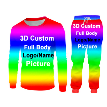 UJWI 3D Custom Print Men/Woman two piece set Party Graduation Memorial Couple Tracksuit Sweatsuit Sweatshirt Hoodies sports 3