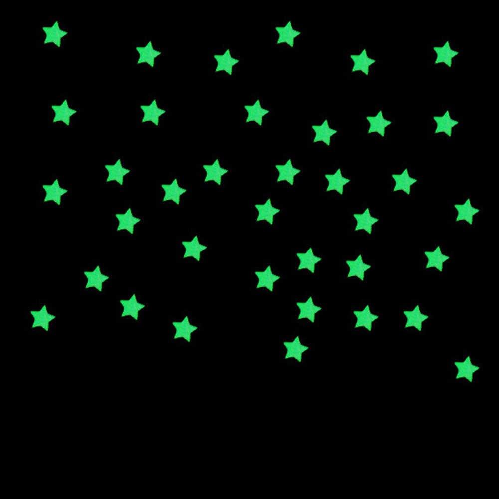 100 sztuk 3D gwiazda i księżyc magazynowania energii fluorescencyjny blask w ciemności Luminous na naklejki ścienne dla dzieci pokój dzienny pokoju naklejka