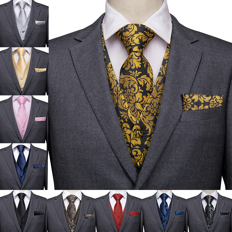Hi-Tie Men Suit Vest Silk Waistcoat Slim Paisley Tie Cufflinks Handkerchief Formal  Vest Gold/Red/Black For Tuxedo Business