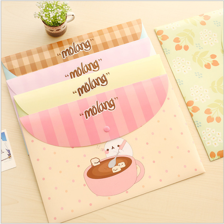 Molang Rabbit Flower A4 File Holder Cute PVC Document Bag Korean Stationery Office School Supplies
