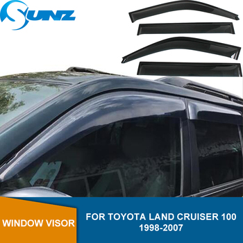 Side Window Deflector For Toyota Land Cruiser 100 LC100 /FJ100/ LX470 1998 1999 2000 2001 2002 2003 2004 2005 2006 2007 SUNZ 11 pieces chrome package handle lamp fuel tank cap cover 1998 2007 for toyota land cruiser 100 lexus lx470 accessories