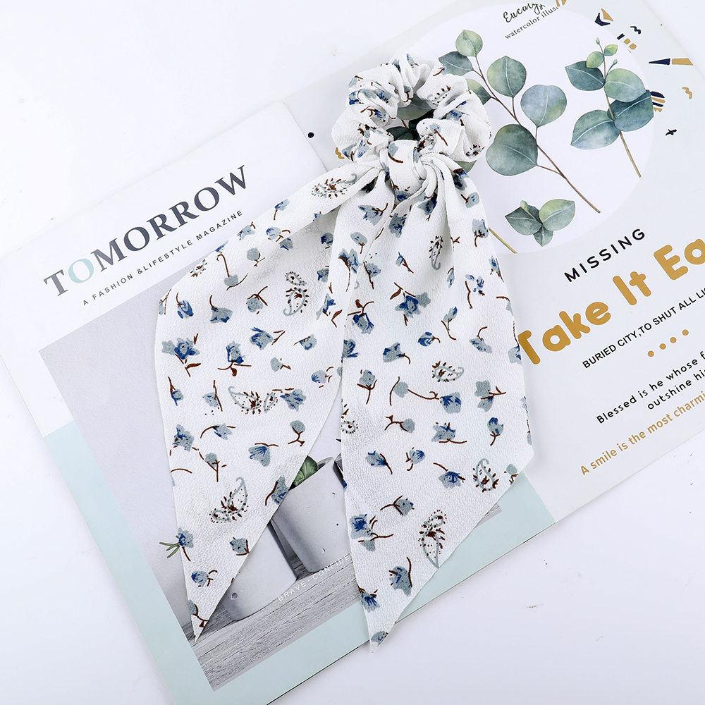 Levao fleur impression cheveux écharpe arc chouchous queue de cheval bandeau pour femmes cheveux accessoires nœud papillon élastique cheveux corde bandeaux 48