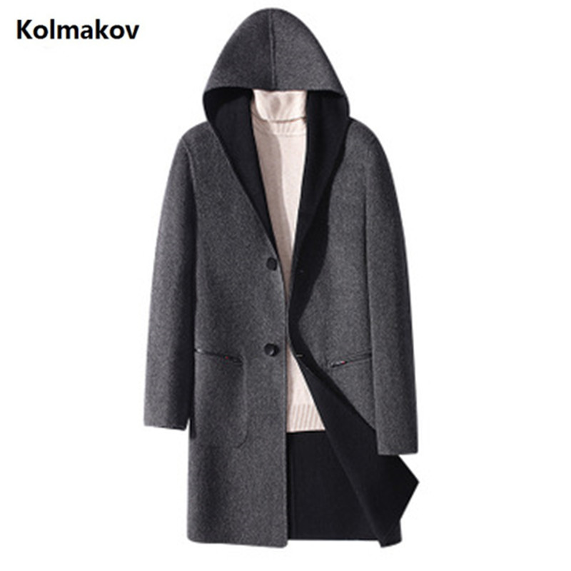 2019 Winter new Men's Long Double sided wool coat hooded casual woolen overcoat high quality single-breasted trenchcoat for men