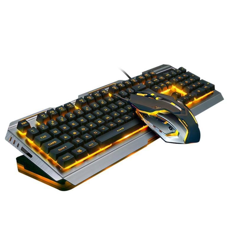 Teclado e Mouse Usb com Fio Ergonômico Retroiluminado Mecânico Sentir Jogo Conjunto Gamer Computador Portátil v1