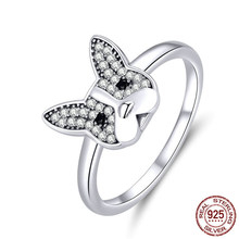 925 Genuine Sterling Silver French Bulldog Finger Rings for Women Clear CZ Party Statement Silver 925 Jewelry(China)