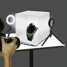 PULUZ 30cm Folding Portable Softbox Ring Light Photo Lighting Studio Shooting Tent Box Kit with 6 Colors Backdrops Photo Studio