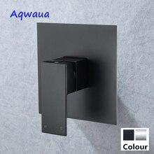Aqwaua Mezclador de ducha oculto, válvula montada en la pared, desviador de ducha de agua fría y caliente, grifo de ducha, Conector de cabezal de ducha de latón, color negro