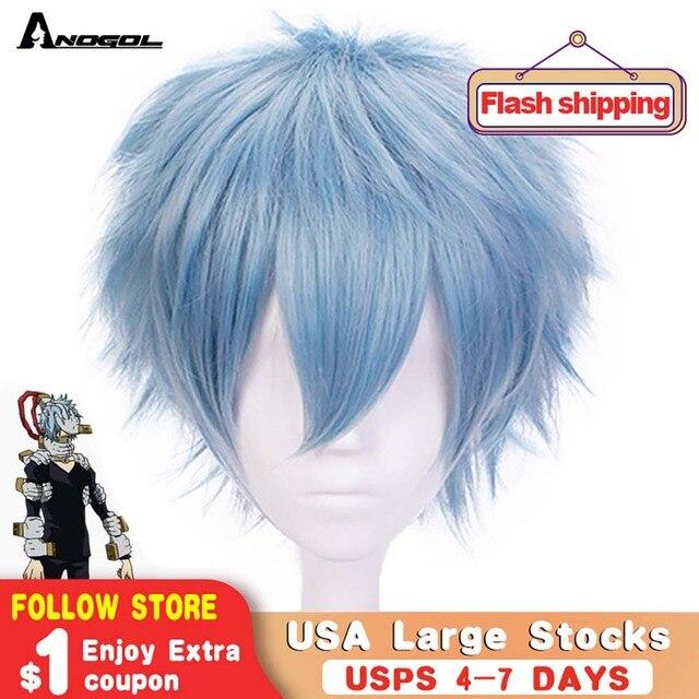 Anogol Anime My Hero Academy Boku No Hiro Tomura Shigaraki Short Natural Wave Blue Synthetic Cosplay Wig For Costume Party Boy