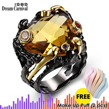 DreamCarnival 1989 Unique Vintage Black Rings for Women Gold Color Big Champagne Zircon Wedding Engagement Jewelry anillos mujer(China)