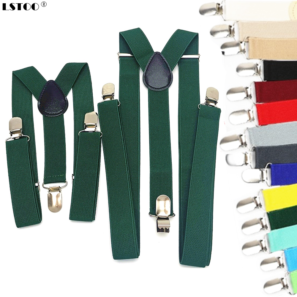 Parent-Kids Blackish Green Yellow Color Suspenders Men Women Boys Girls Elastic Adjustable Kids Braces Unisex Accessories