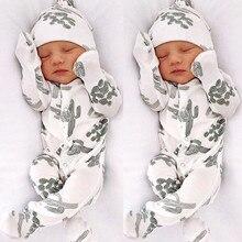 2019 Newborn Romper Infant Baby Boy Girl Floral Romper Jumpsuit Sleepwear Hat Outfits Long Sleeve Soft Baby Set
