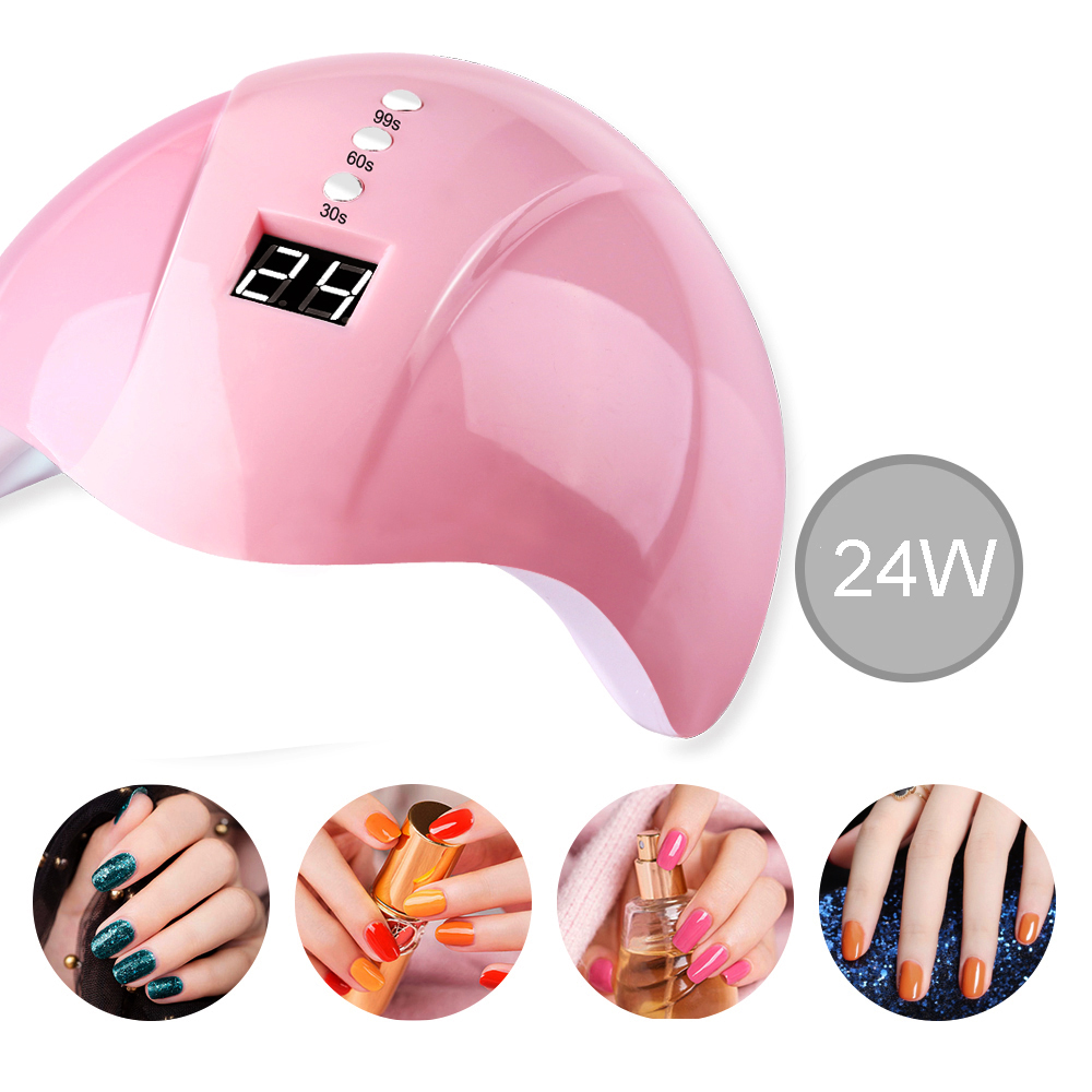 Nail Dryer For Nail <font><b>LED</b></font> <font><b>UV</b></font> <font><b>Lamp</b></font> 24W For All Gels 12 <font><b>Leds</b></font> <font><b>UV</b></font> <font><b>Lamp</b></font> for Nail Machine Curing 30s/60s/99s Timer USB Connector Varnish image