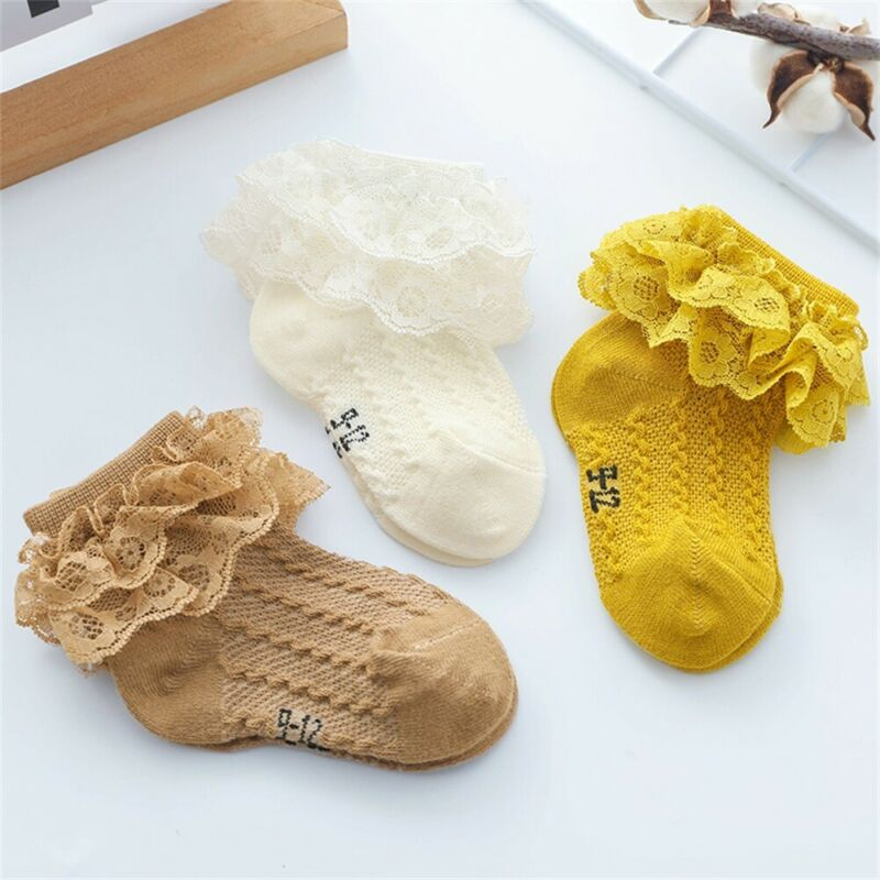 Fashion Baby Girl Children Toddler Cotton Lace Mesh Ankle Socks Frilly Trim Lace Short Stocking