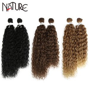Nature Hair Weave 18-22Inches Kinky Curly Synthetic Hair Extensions Ombre Silver Grey Blonde High Temperature Fiber Hair Bundles
