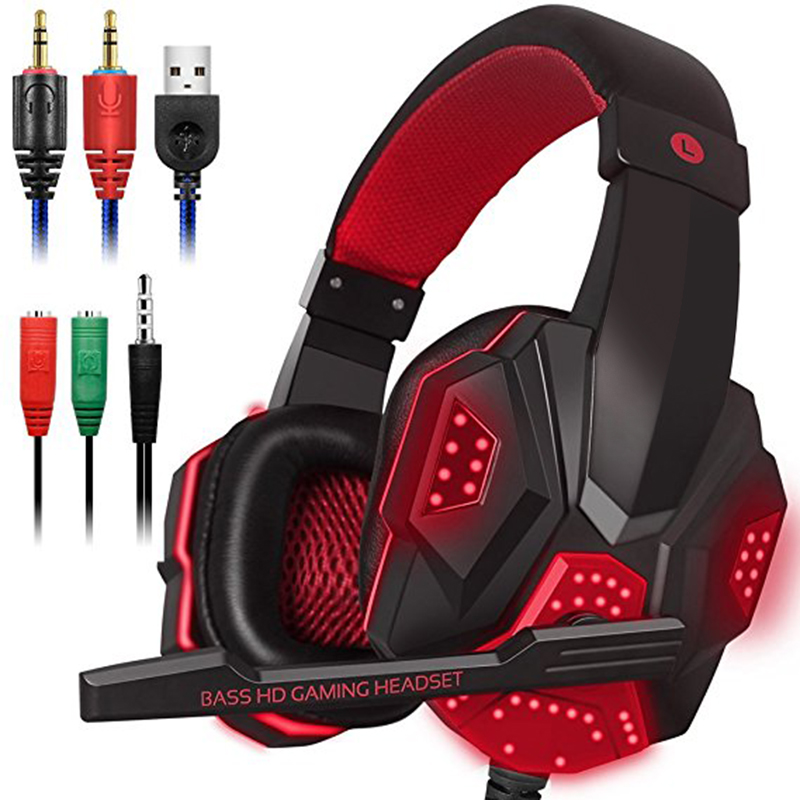 Gaming Headset Stereo Kopfhörer 3,5mm Wired + Mic Spiel Headset Stereo Bass Surround Mit Licht Mic r Für PS4 PS3 Laptop PC USA image