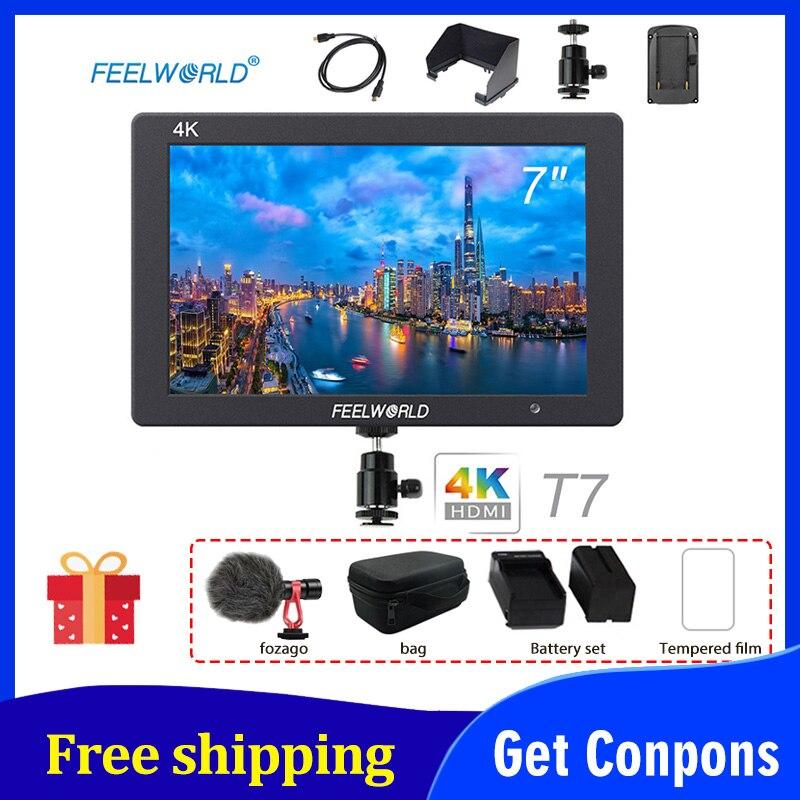 Feelworld-monitor hd T7 de 7 pulgadas, DSLR, pantalla LCD IPS de 1920x1200, salida de entrada HDMI 4K para cámaras de campo Sony, estabilizador de mano