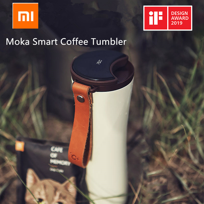 Xiaomi Kiss Kiss Fish Moka Smart Coffee Tumbler Portable Vacuum Bottle OLED Touch Screen Thermos Stainless Steel Coffee KKF Cup