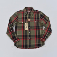 BOB DONG Vintage Inspired Plaid Work Shirts Men's Point Collar Heavyweight Shirts